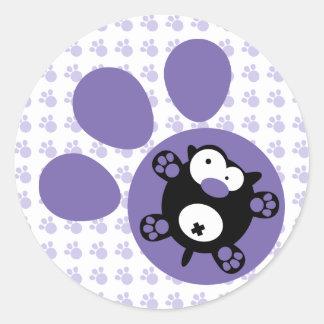 平らな子犬(紫色) ラウンドシール