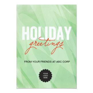 平らな緑の水彩画 カード