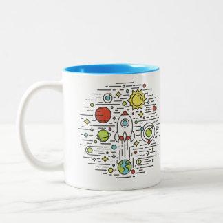 平らな線画-宇宙 ツートーンマグカップ
