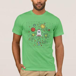 平らな線画-宇宙 Tシャツ