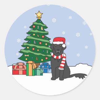 平ら上塗を施してあるレトリーバーおよびクリスマスツリー ラウンドシール