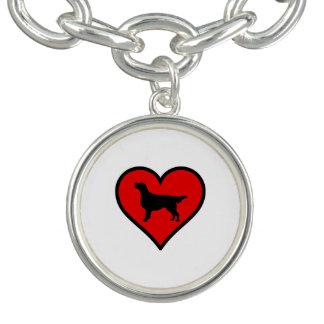 平ら上塗を施してあるレトリーバーのハート愛犬 チャームブレスレット