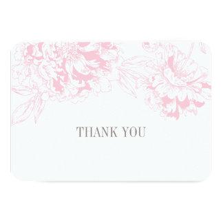 平ら|感謝していして下さい||カード|ピンク|花柄|シャクヤク|デザイン 8.9 X 12.7 インビテーションカード