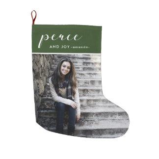 平和および喜びのマツ緑は写真のクリスマスを加えます ラージクリスマスストッキング