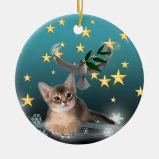 平和および喜びの子ネコのアートワーク セラミックオーナメント
