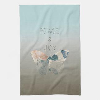 平和および喜びの蝶 キッチンタオル