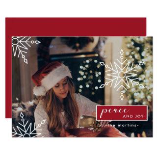 平和および喜びは雪片のクリスマスの写真を加えます 12.7 X 17.8 インビテーションカード