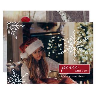 平和および喜び3の写真および雪片のクリスマス 12.7 X 17.8 インビテーションカード