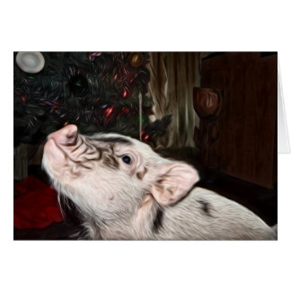 平和および愛は小型ブタのクリスマスカードを絵を描きました カード