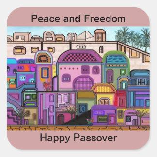 平和および自由の過ぎ越しの祝いのステッカー スクエアシール