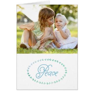 平和なシンプルのクリスマスの写真の挨拶状 カード