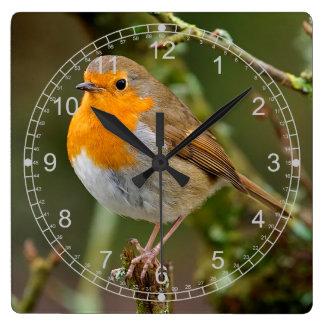 平和な冬ロビン スクエア壁時計