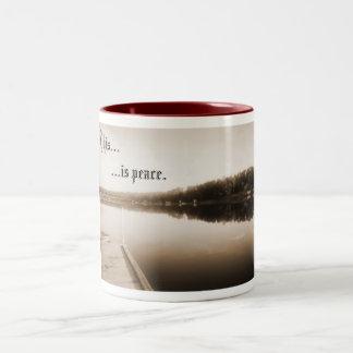 平和な川は、これ平和です ツートーンマグカップ