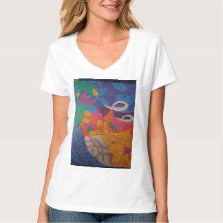平和な背景上のカラフルなイメージ Tシャツ