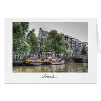平和な運河場面-友人 カード