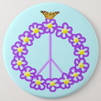 平和によっては蝶Pinボタンが開花します 15.2cm 丸型バッジ