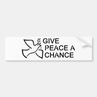 平和にチャンスを与えて下さい バンパーステッカー