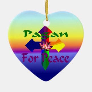 平和のための異教徒 陶器製ハート型オーナメント