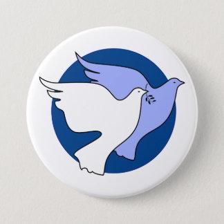 平和のための2羽の白い鳩 7.6CM 丸型バッジ