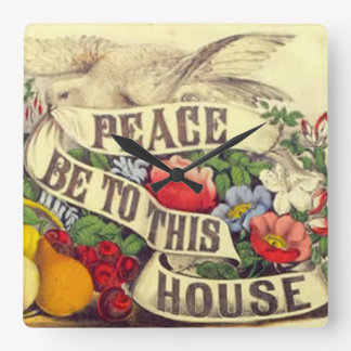平和はこの家にあります スクエア壁時計