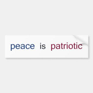平和は愛国心が強いです バンパーステッカー