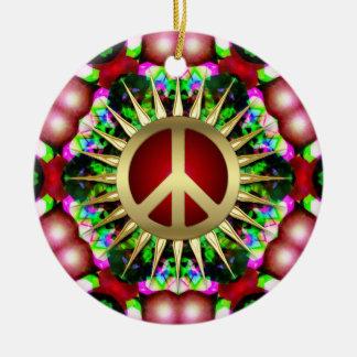 平和ヒッピーの六角形のクリスマスの陶磁器のオーナメント セラミックオーナメント