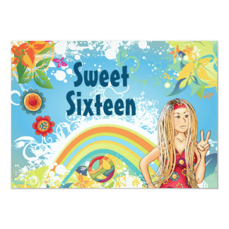 平和ヒッピーの女の子の菓子16の誕生日の招待状 12.7 X 17.8 インビテーションカード