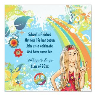 平和ブロンドのヒッピーの女の子の卒業の招待状 カード