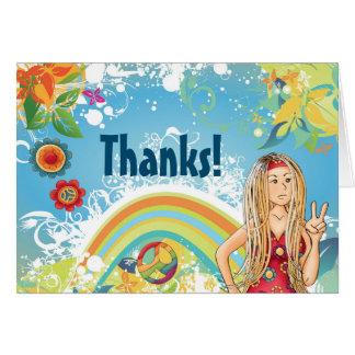 平和ブロンドのヒッピーの女の子の花のサンキューカード カード