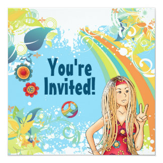 平和ブロンドのヒッピーの女の子の誕生日のパーティの招待状 カード