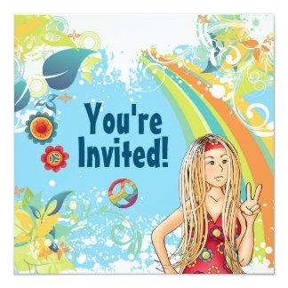 平和ブロンドのヒッピーの女の子の誕生日のパーティの招待状 13.3 スクエアインビテーションカード