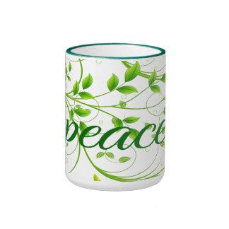 平和メッセージの印の自然の背景 リンガーマグカップ