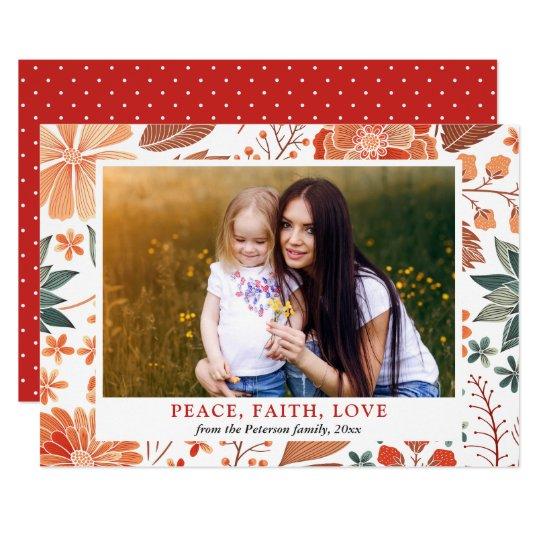 平和信頼愛季節的な挨拶の家族写真 12.7 X 17.8 インビテーションカード