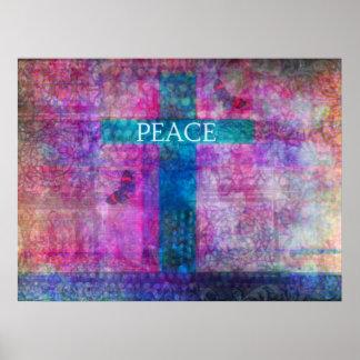 平和十字のコンテンポラリーなキリスト教の芸術 ポスター
