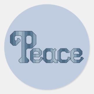 平和十字のステッチパターン ラウンドシール