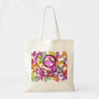 平和単語の記号および蝶 トートバッグ