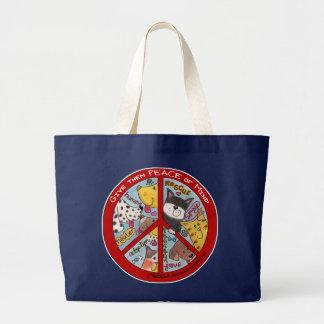 平和印動物の保護 ラージトートバッグ