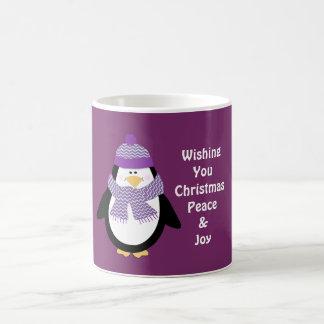 平和及び喜びの休日の願いのペンギンのマグ コーヒーマグカップ