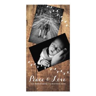平和及び愛クリスマスの写真木ライト カード