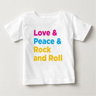 平和及び愛及びロックンロール ベビーTシャツ