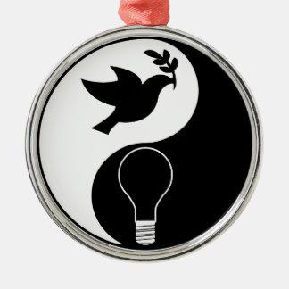平和及び革新を強調する自由主義のロゴ メタルオーナメント