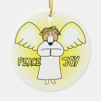 平和喜びの天使の赤いボルゾイのクリスマスのオーナメント セラミックオーナメント