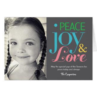 平和喜び及び愛休日の写真カード カード