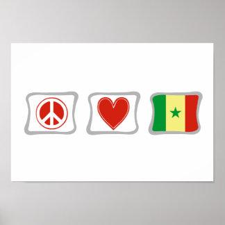 平和愛およびセネガルの正方形 ポスター
