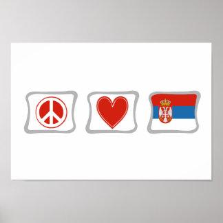 平和愛およびセルビアの正方形 ポスター