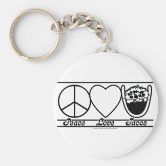 平和愛およびタコス キーホルダー