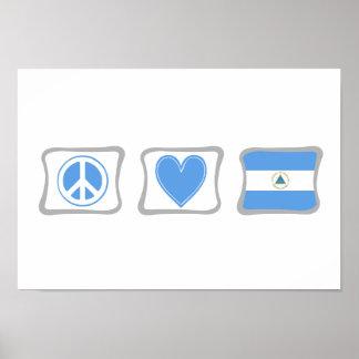 平和愛およびニカラグアの正方形 ポスター
