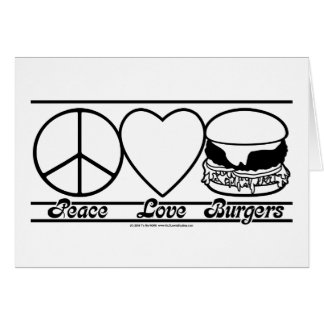 平和愛およびハンバーガー グリーティングカード