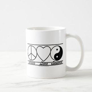 平和愛およびバランス コーヒーマグカップ