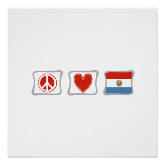 平和愛およびパラグアイの正方形 ポスター